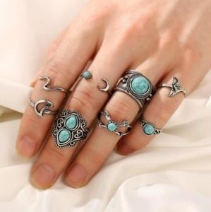 RETRO SEA LIFE TURQUOISE SET OF 8 RINGS